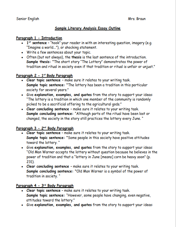 Literary Thesis Statement Example