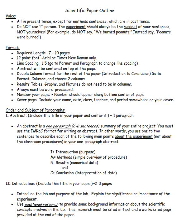 Outline help for research paper